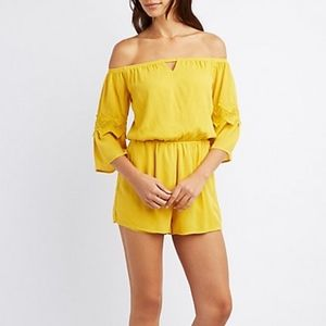 Yellow Crochet Off Shoulder Romper